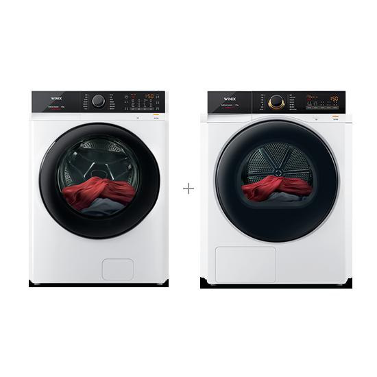 [위닉스] 결합2종 텀블 세탁기 23kg (새틴 화이트) + 텀블 건조기 17kg (새틴 화이트)